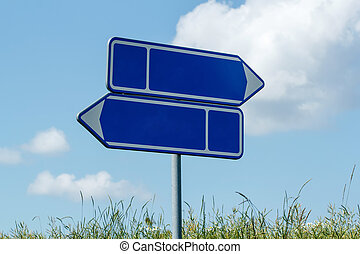 sign road with blue sky