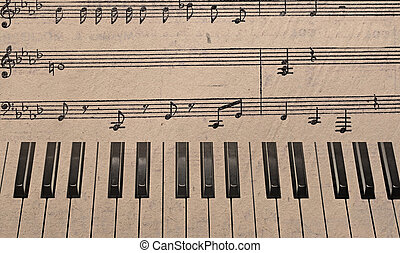 Music background with piano keys in grunge style Music...