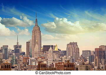 Manhattan Skyscrapers with dramatic Sky on background, USA...