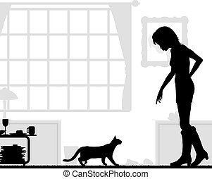 Cat lover - Editable vector silhouettes of a woman and cat...