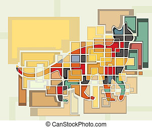 Cat - Colorful abstract editable vector mosaic design of a...