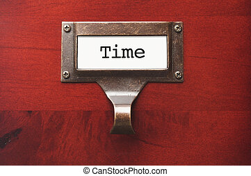 Lustrous Wooden Cabinet with Time File Label