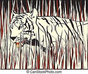 Tiger - Vector illustration of a tiger prowling through dry...