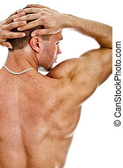 Half of the muscular bodybuilder back. Isolated on white.