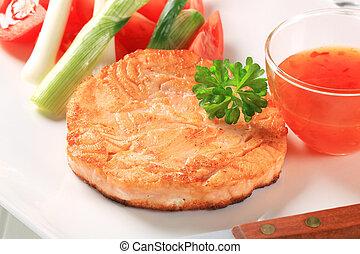 cacerola, frito, Salmón