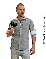 Man with retro camera. Isolated on white.