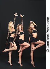 three girls - Group of professional cheerleaders posing at...