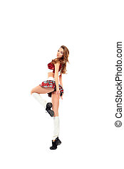 girl - Beautiful girl cheerleader posing at studio. Isolated...