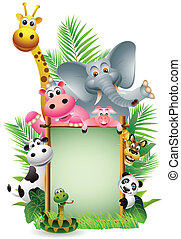funny animal with blank sign - vector illustration of funny...