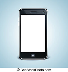 Modern cell phone with white screen.