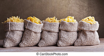 Pasta variety in small sacks