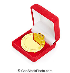 Golden medal in red gift box white background