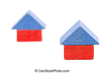 wooden toy block house symbol construction