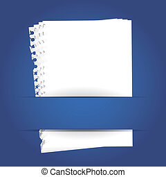 blue background with papers and place for your text