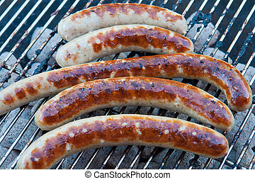 Grilled German sausage hot dog wurst BBQ - Grilled...