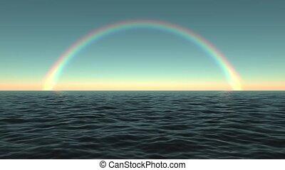 The sea / ocean and a rainbow