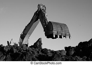 Shovel bucket against sky - Hydraulic excavator at work...