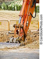 工作, 街道, 維護, 公眾, 挖掘機