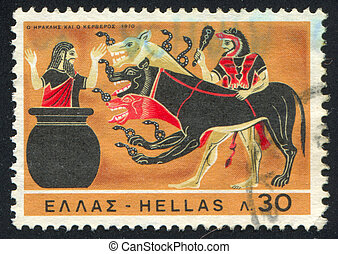 Capture of Cerberus - GREECE - CIRCA 1970: stamp printed by...