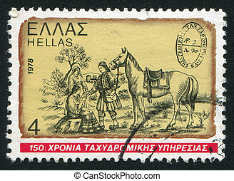 Postrider - GREECE - CIRCA 1978: stamp printed by Greece,...