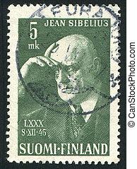 Composer Jean Sibelius - FINLAND - CIRCA 1945: stamp printed...