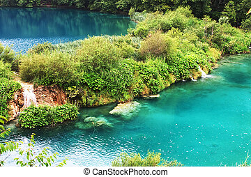 Plitvice lake with magic colors