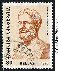 Hippocrates - GREECE - CIRCA 1996: stamp printed by Greece,...