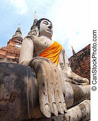 Buddha statue in Wat Yai Chai Mongkol- Ayuttaya of Thailand