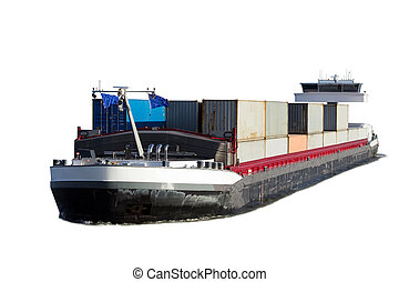 Barge isolated - Barge riverboat isolated