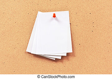 paper note on bulletin board, cork board