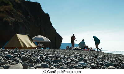 Camping by Sea - The family camped by the sea, focus on...
