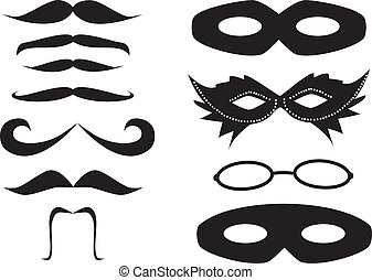 Mustaches and masks set