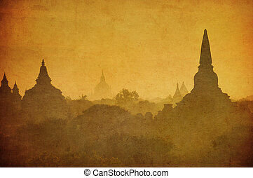 Vintage image of ancient Bagan, Myanmar