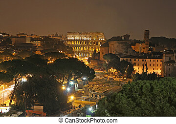 Roma coliseum in the night - Night view of Roma coliseum...