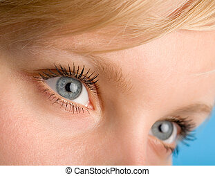 eyes - the fragment of woman\\\'s face with open eyes macro