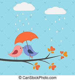 Birds under umbrella.Romantic autumnal card