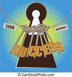 Team with mutiple key to success - Team with multiple key to...