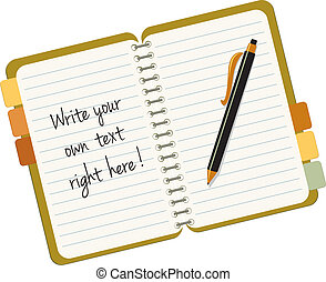Note book with a pen and sample text, replace it with your...