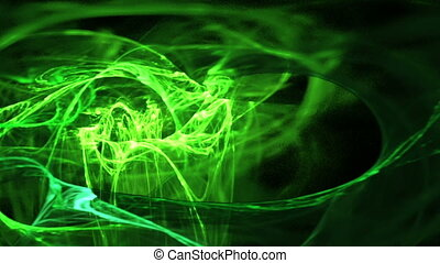 glowing fibrous green motion bg - particle motion background