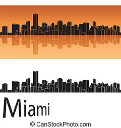 Miami skyline in orange background in editable vector file