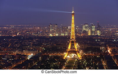 Eiffel tower by night 2 - Eiffel tower at night on March 17,...