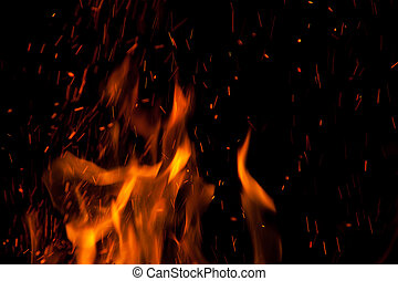 The flames at night with sparks