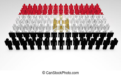 Egyptian Parade - Parade of 3d people forming a top view of...