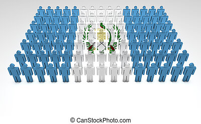 Guatemalan Parade - Parade of 3d people forming a top view...