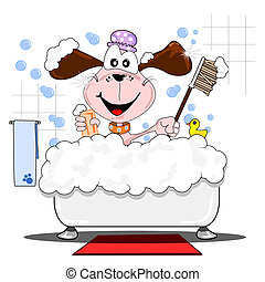 A cartoon dog having a bath - A cartoon dog having a bubble...