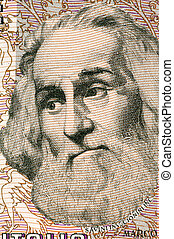 Marco Polo (1254-1324) on 1000 Lire 1982 Banknote from...