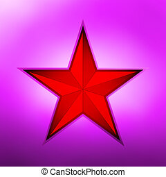 Red metallic star on a purple background. EPS 8