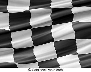 Racing flag - balck and white checkered racing flag waiving...