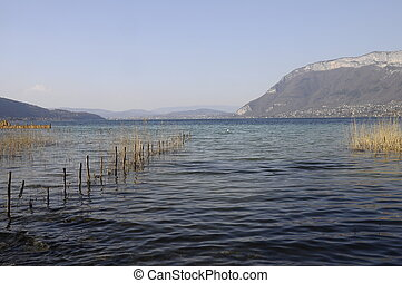 Large view of Annecy lake and mountains from reedbed, Savoy,...