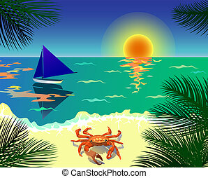 Tropical beach - Beautiful tropical view with beach, boat,...